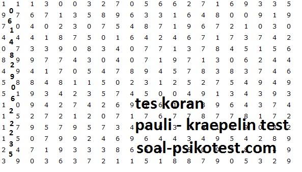 Soal Psikotes Koran Pauli Kraepelin Blog Edukasi