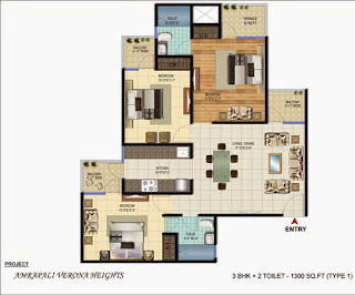Amrapali Verona Heights :: Floor Plans 3 BHK + 2T