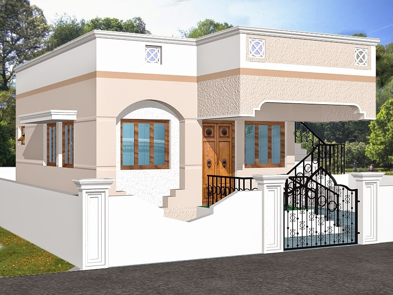 Indian homes house plans house designs 775 sq ft for Home exterior design india residence houses