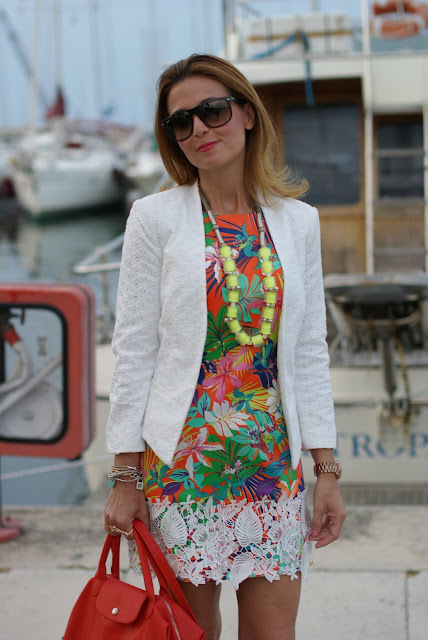 Mango lace blazer, mini dress with tropical print, sportmax necklace, Fashion and Cookies
