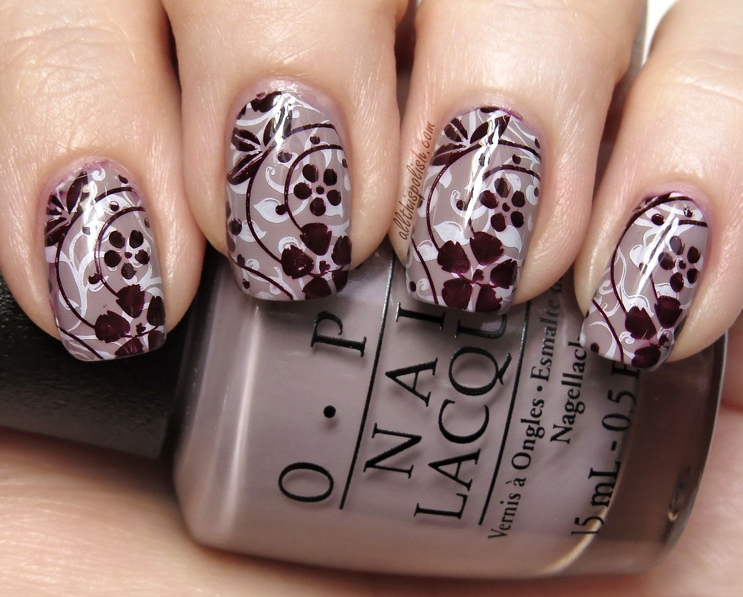 All This Polish: OPI Taupe-less Beach and Floral Double Stamping
