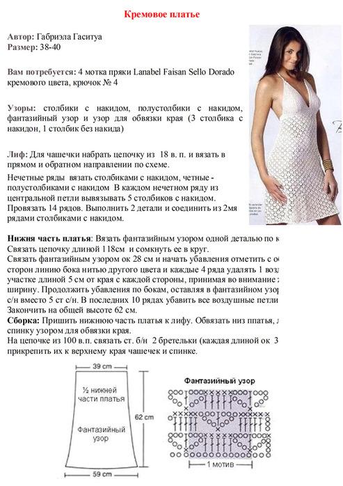 Схема вязания платья летнего 98