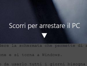 Scorrerimento per spegnere PC