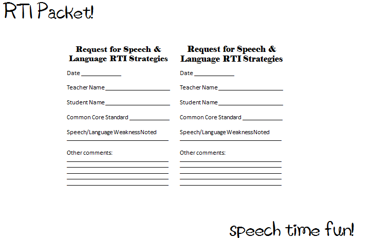RTI PreReferral SpeechLanguage Materials – Parent Consent Forms