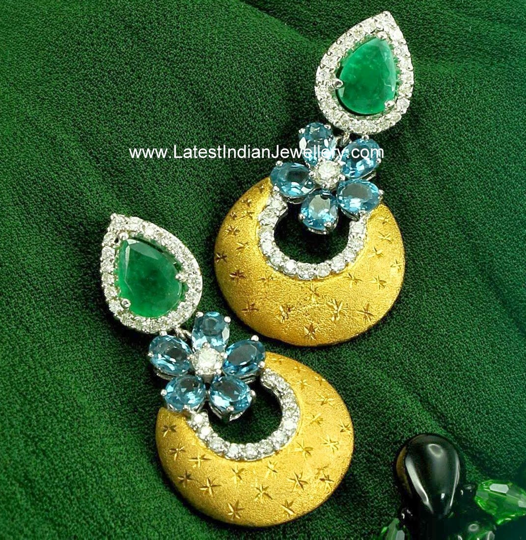 Diamond Earrings with Topaz