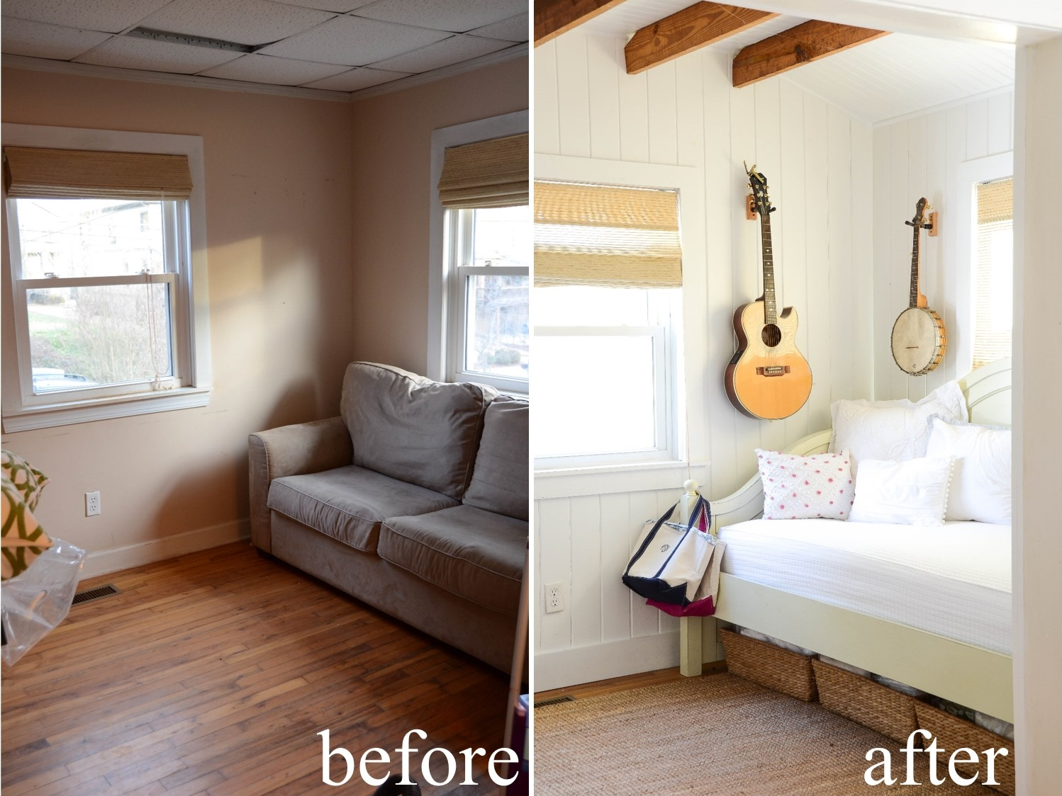 Iron twine before after small living space for Tiny house living room