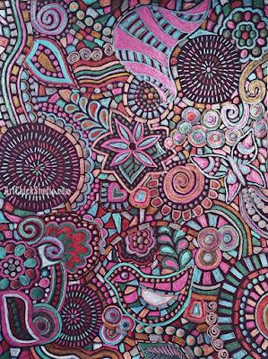 Metallic Doodle Mosaic Drawing