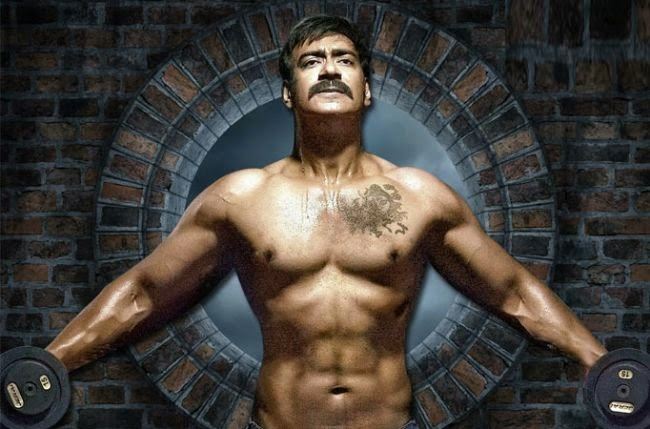 Ajay devgun in gym excerise wallpaper in singham returns film