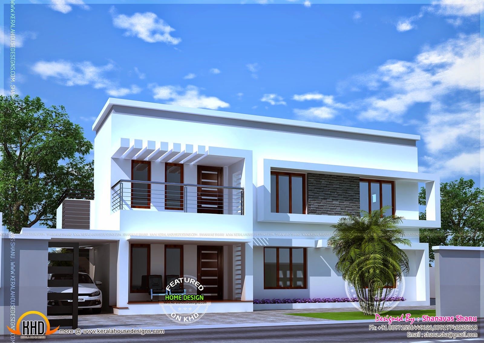 Modern home perspective with floor plan Kerala home design and