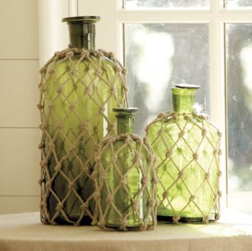 crafts lessons: how to sew a fish net…inadvertent knotted jute demijohn knockoff