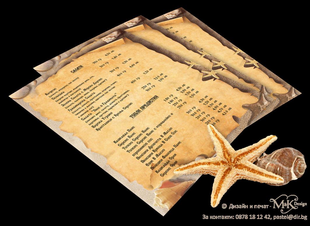 Фонове А4 - Морски звезди и миди