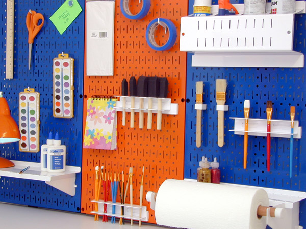 The setup below features blue and orange Wall Control panels being used with white tool board accessories to create a fun and custom looking craft storage ... & Pegboard Tool Storage u0026 Garage Organization Blog: Wall Control ...
