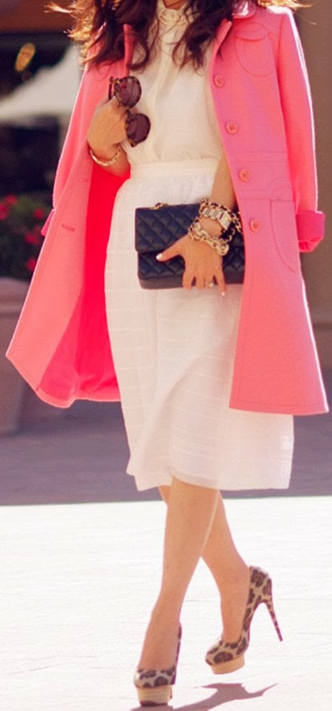 pink coat, leopard heels
