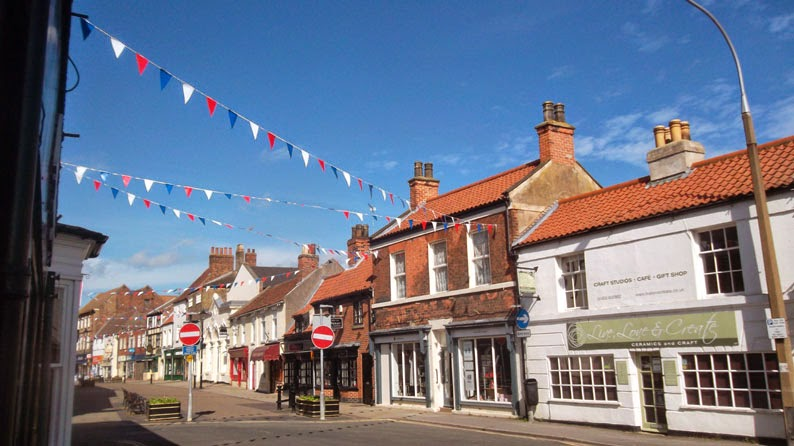 Blue skies and colourful bunting in Brigg town centre - picture on Nigel Fisher's Brigg Blog