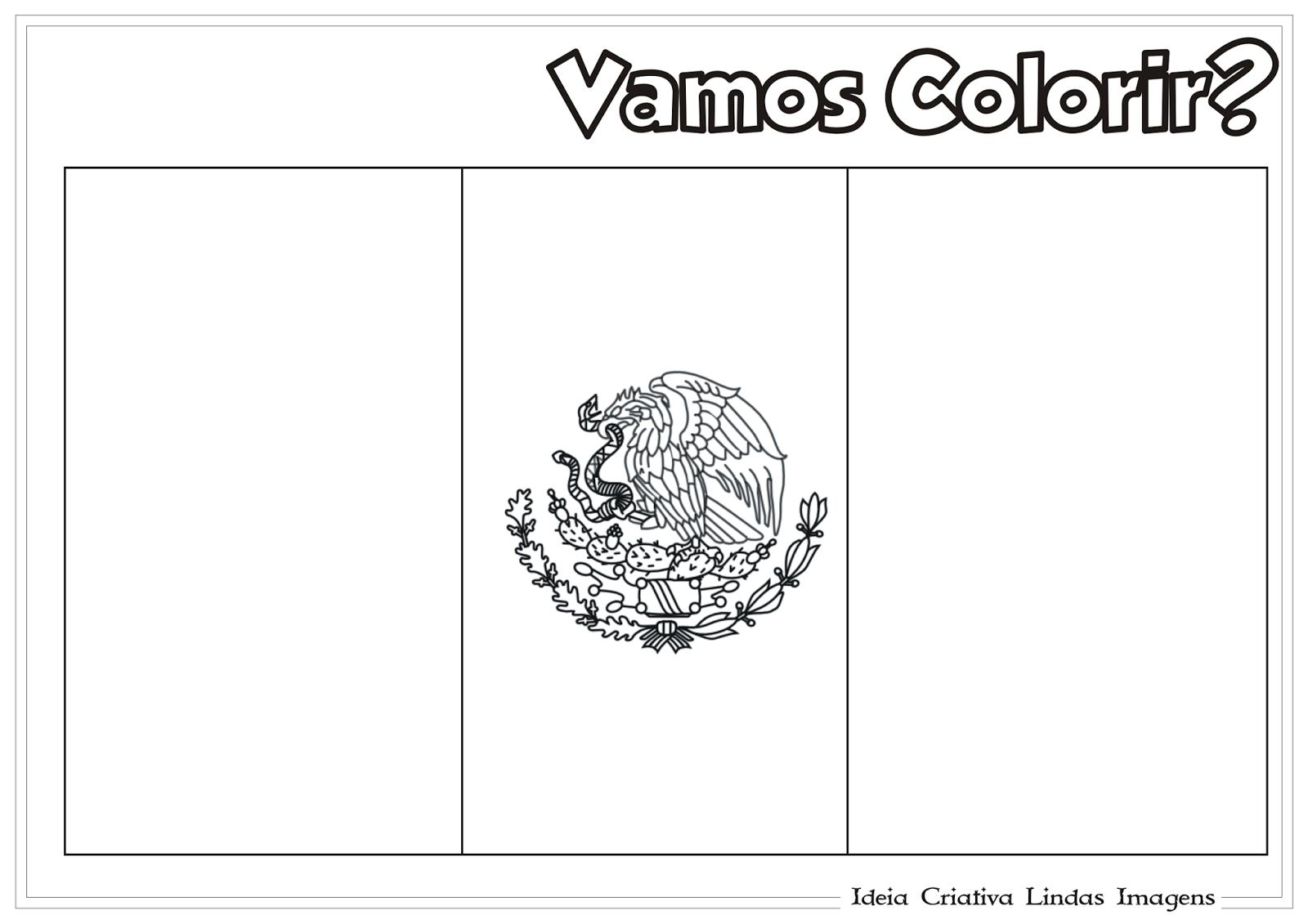 Copa do Mundo 2014 - Grupo A: México bandeira para colorir