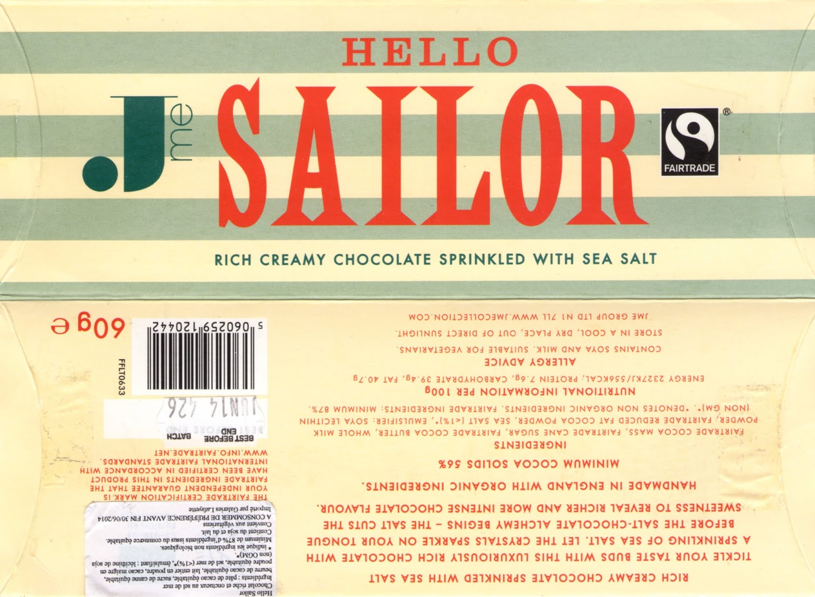 tablette de chocolat noir gourmand jme hello sailor