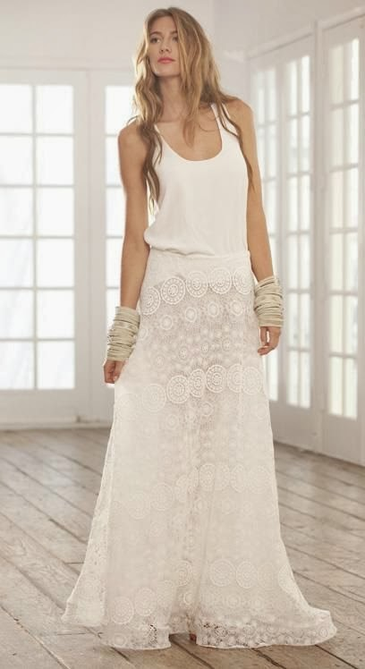 White lace maxi skirt
