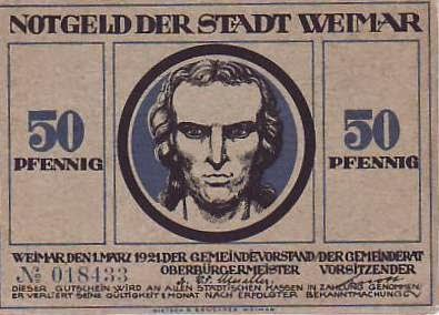Banknotes from stadt weimar – birthplace of the weimar republic