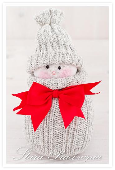 bałwanek z materiału, bałwanek ze skarpetek, bałwanki ze skarpetek, sock snowman