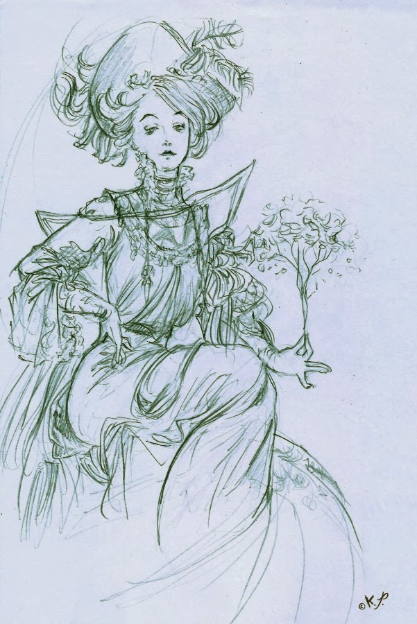dibujo de Alfons Mucha, boceto Kaliparvati