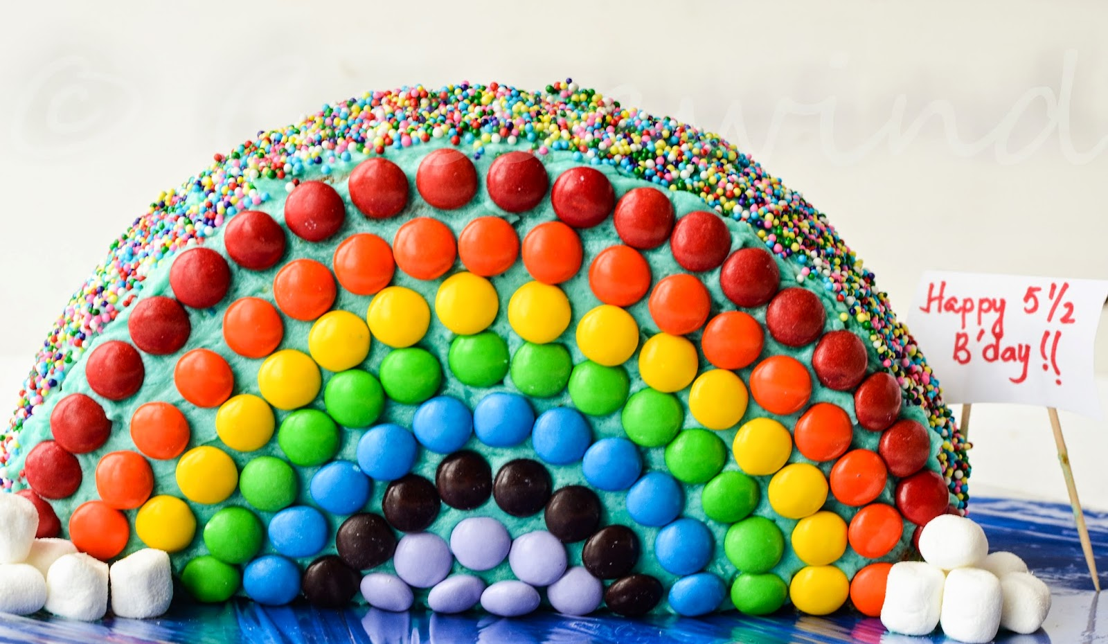 M&M Rainbow Half Birthday Cake