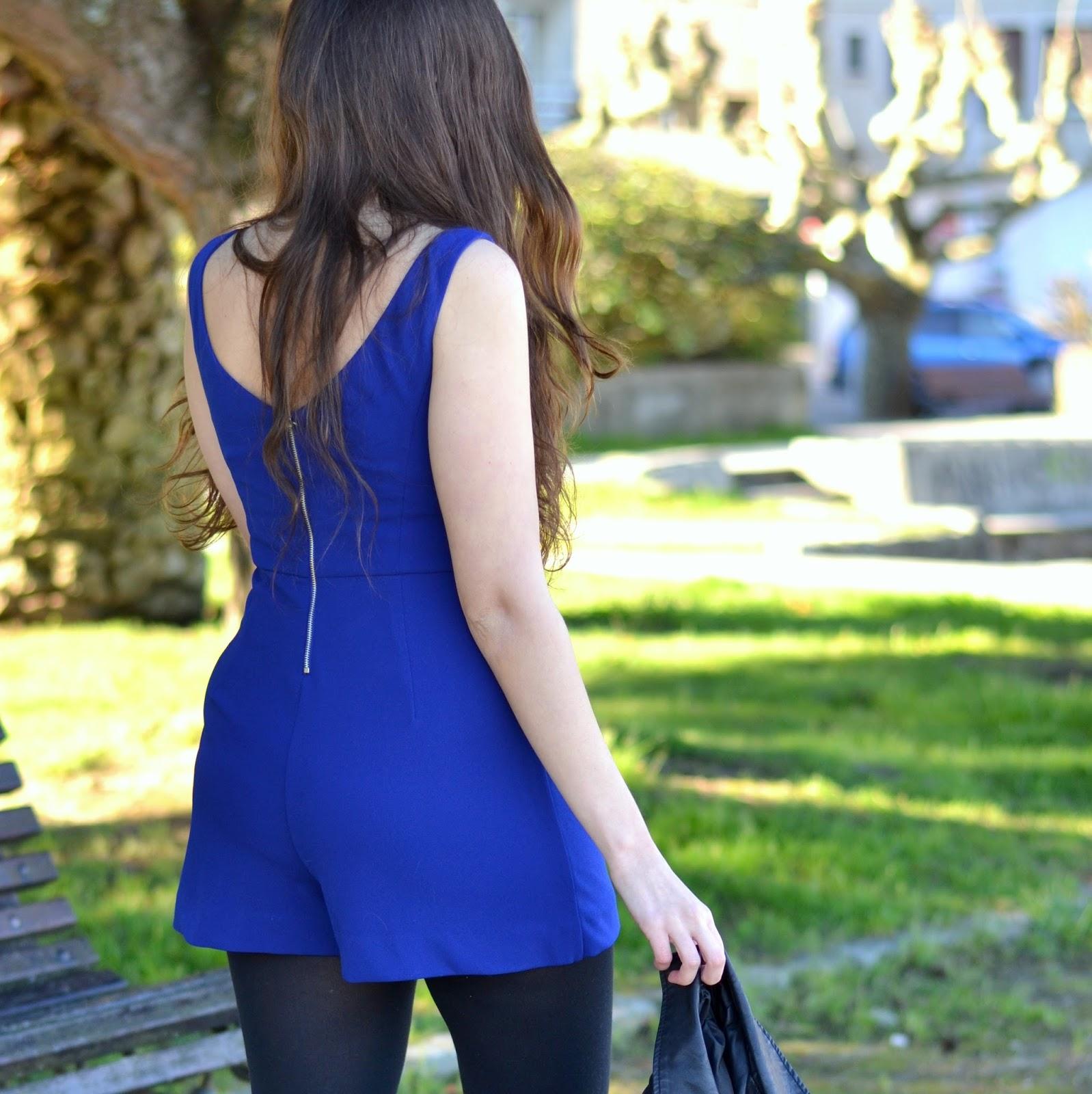 blue klein jumpsuit zara ss15