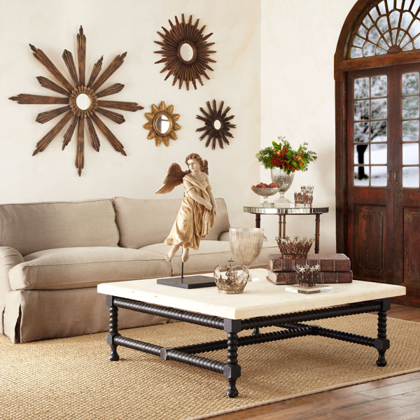 Eye for design decorate with the iconic sunburst mirror - Decorating with mirrors in living room ...