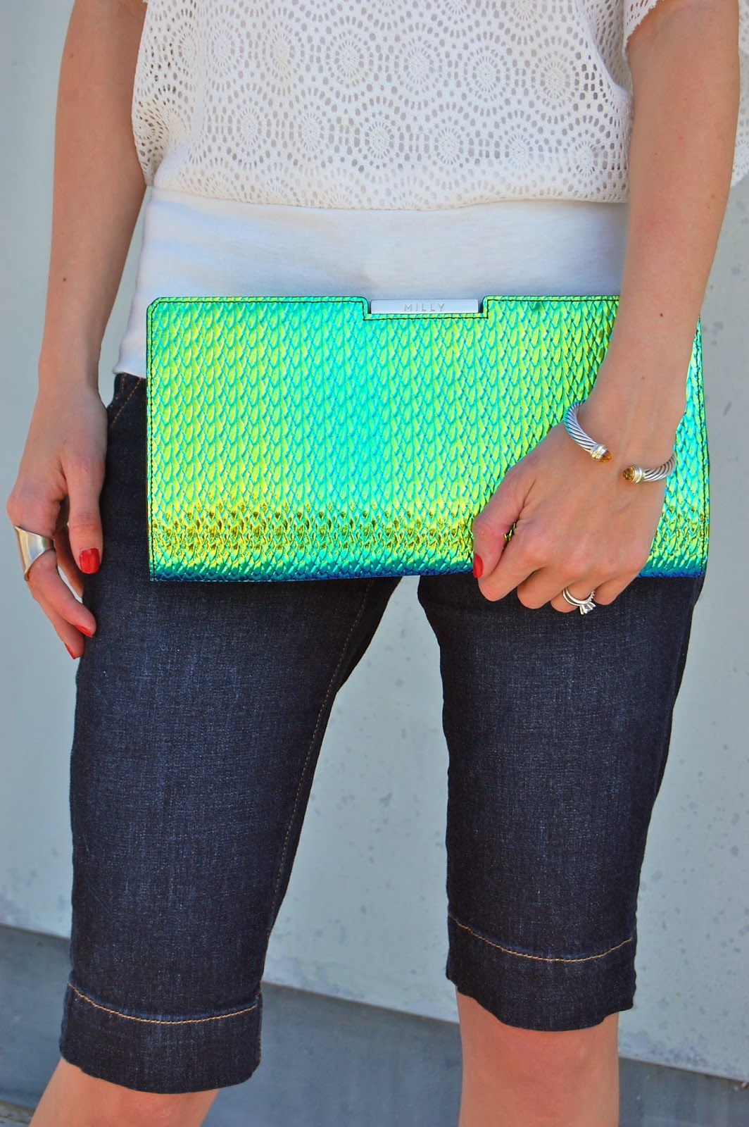 Milly Miley Frame Clutch in Embossed Hologram, Milly By Michelle, Hologram Clutch