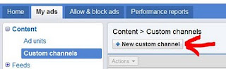 AdSense New custom channel button