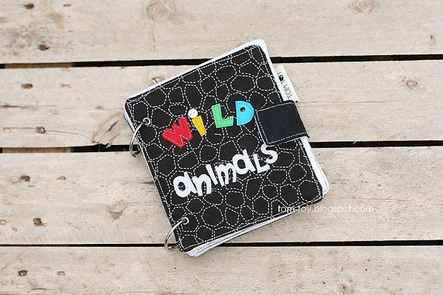 Handmade fabric book, first baby cloth book, wild animals watercolor illustrations