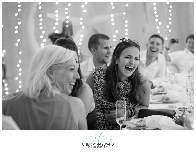 Guests laughing during speeches, Great laughing photo, in the moment, love, laugh, laughing, wedding guests, friends, Beach Republic Wedding, Koh Samui Wedding