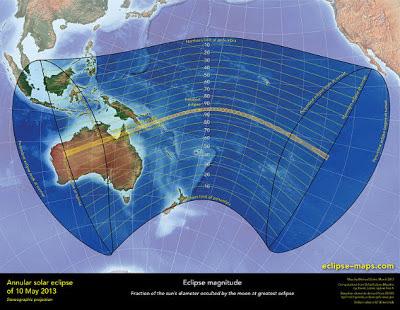 Visibilidad global eclipse solar 09 y 10 de mayo 2013
