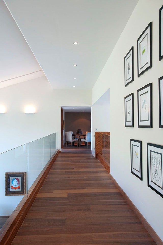 Wooden hallway on the gallery above the living room