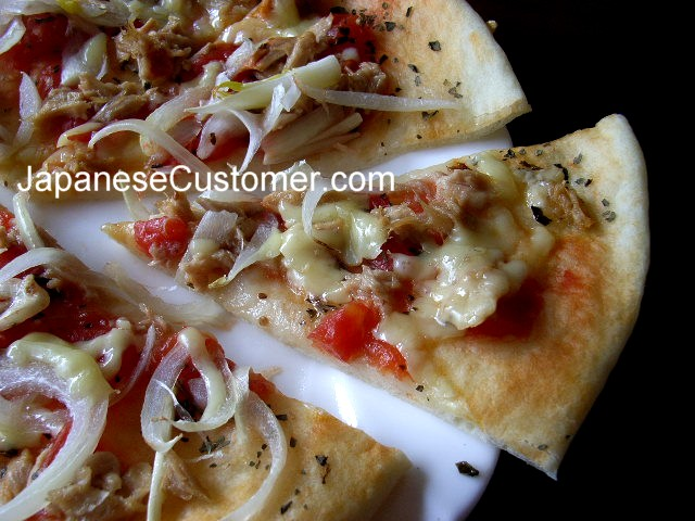 Home made pizza in Japan Copyright Peter Hanami 2007