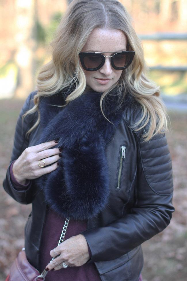 prada sunglasses, faux fur stole