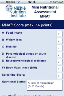 MNA (Mini Nutritional Assessment) app for the iPhone and iPad