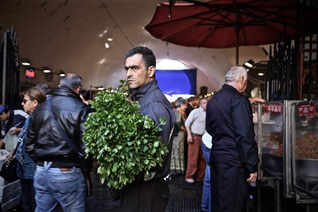 Parsley seller, fish market, catania
