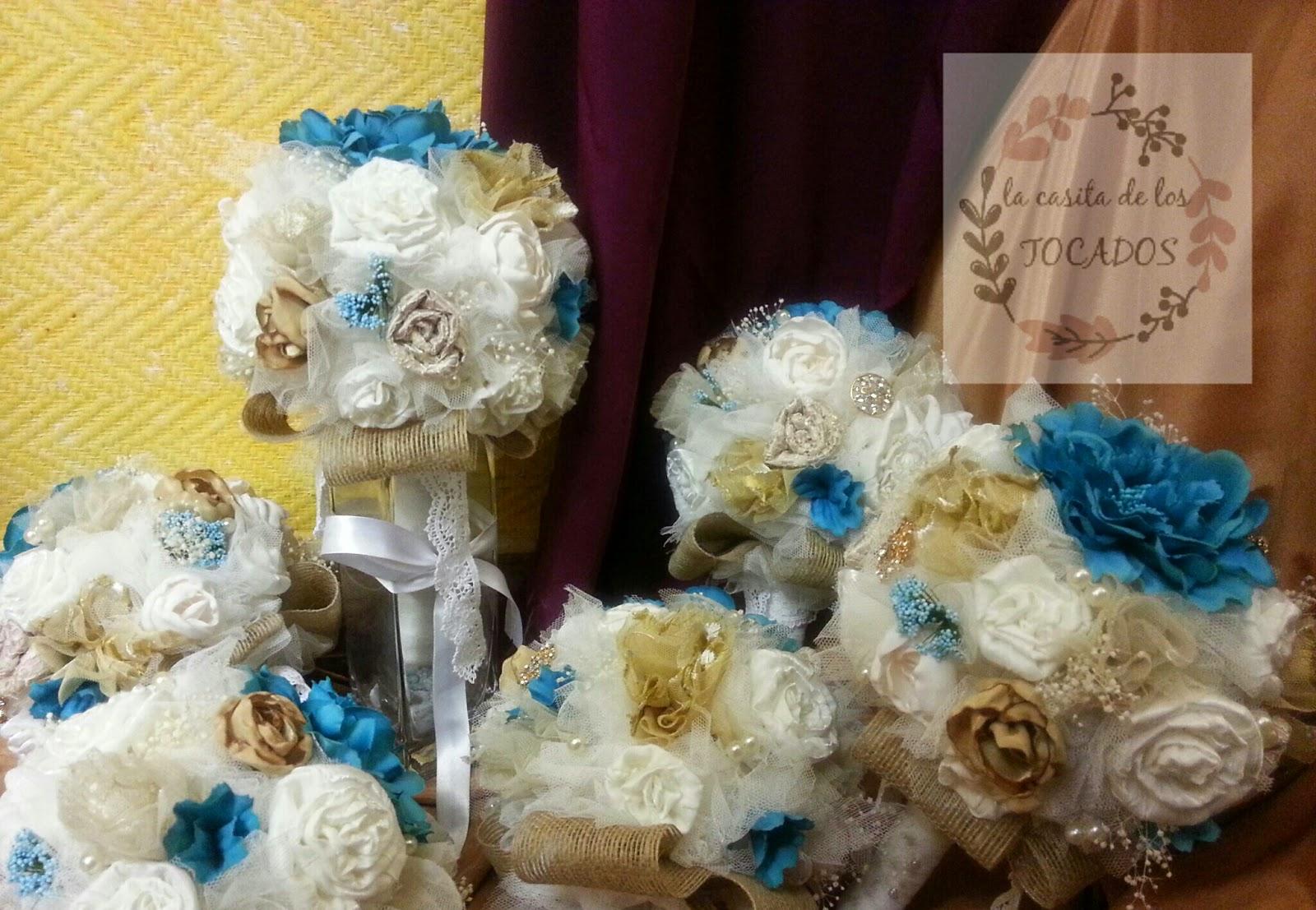 ramos para boda vintage con flores de tela, tul, flores secas, broches...