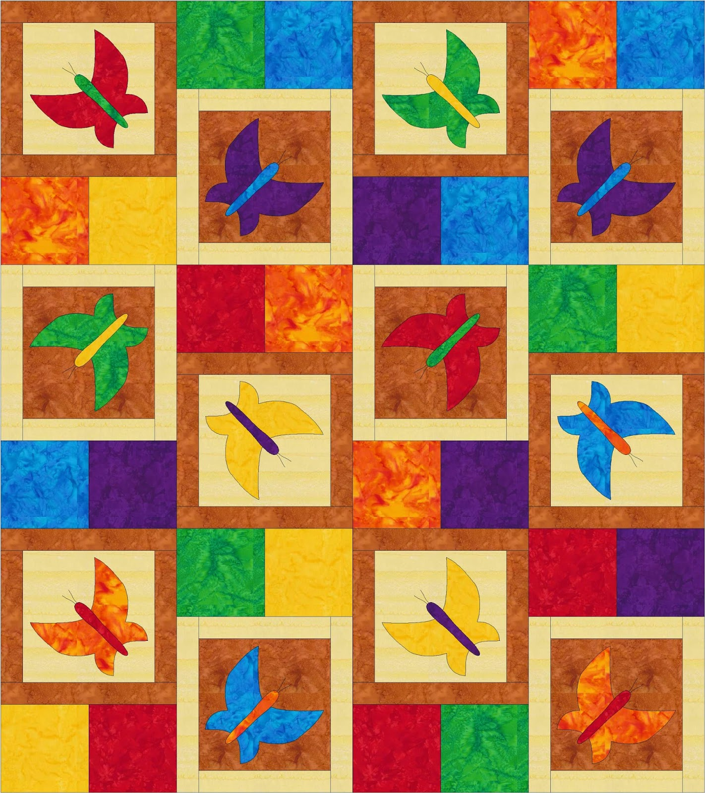 Dancing Butterfly Quilt Rainbow colorway