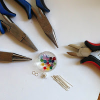 Items needed to make a crystal link bracelet