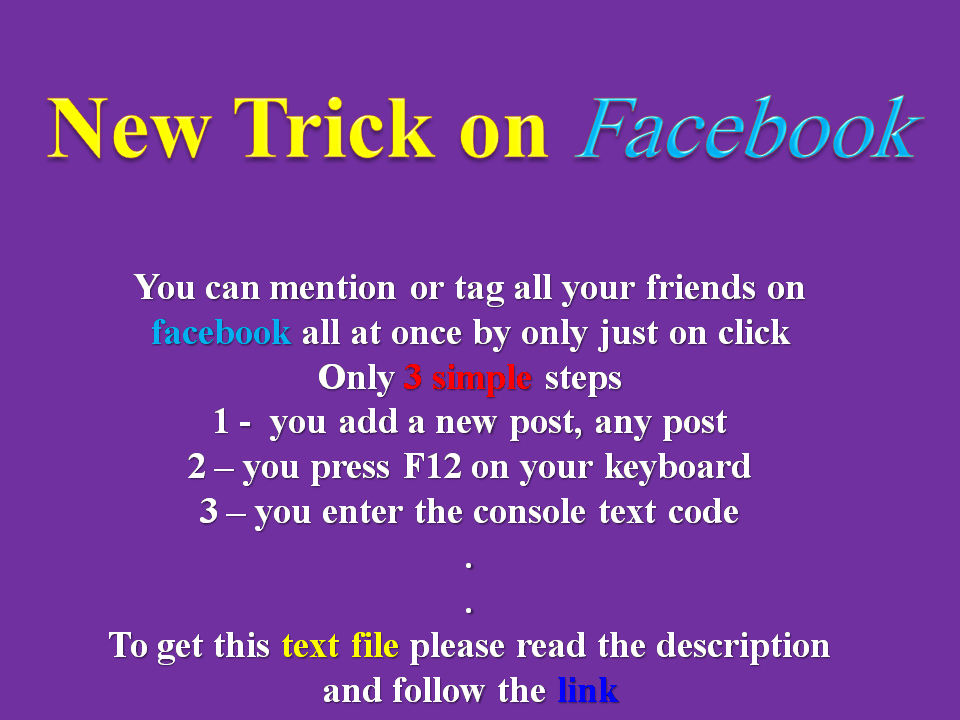 how to tag and mention all friends on facebook by only just one click via text console code