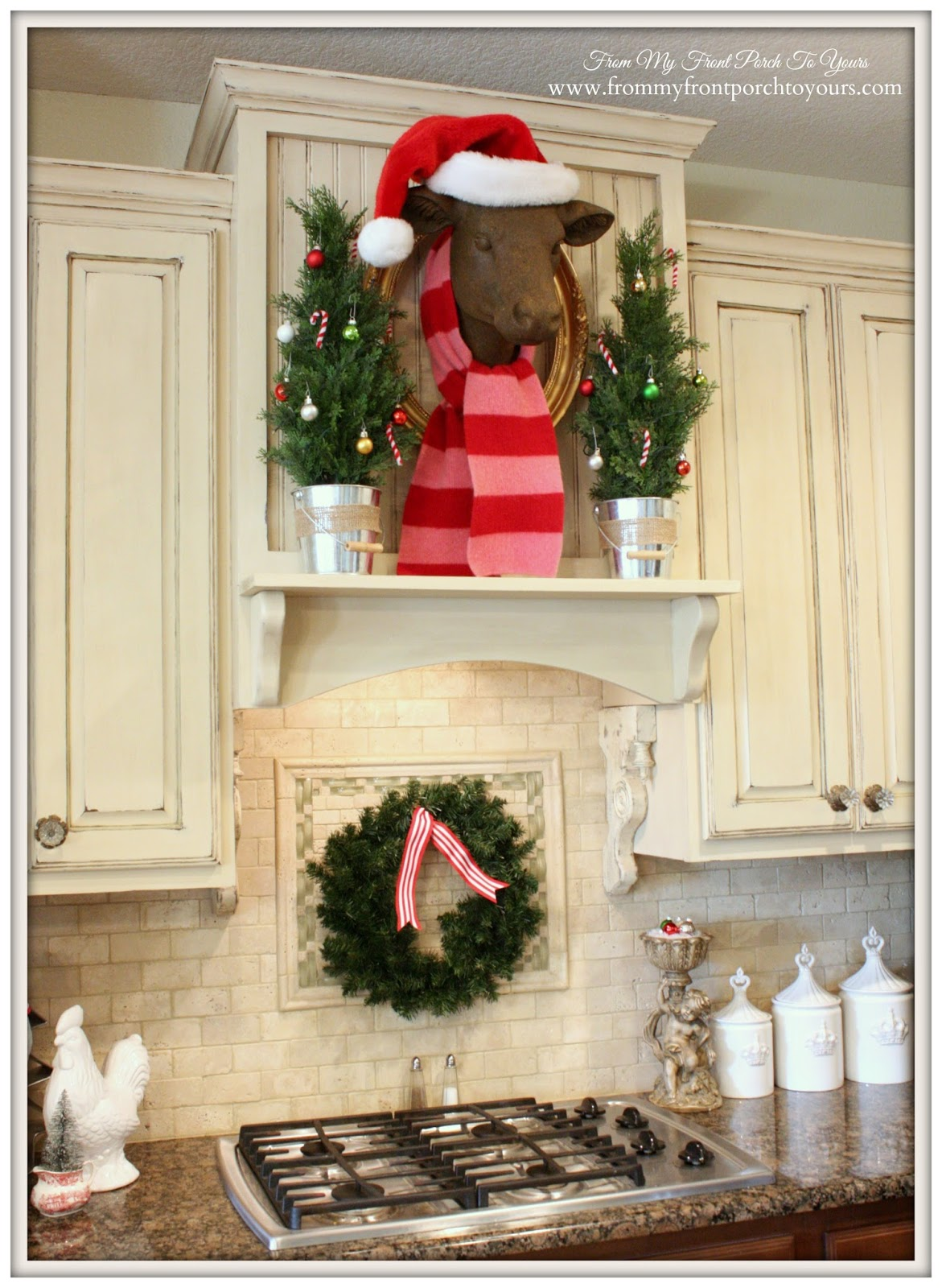 Bessie The Cow with Scarf-French Farmhouse Christmas Kitchen- From My Front Porch To Yours