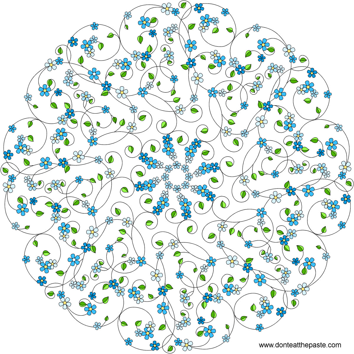 Forget Me Not Mandala With A Blank Version To Color