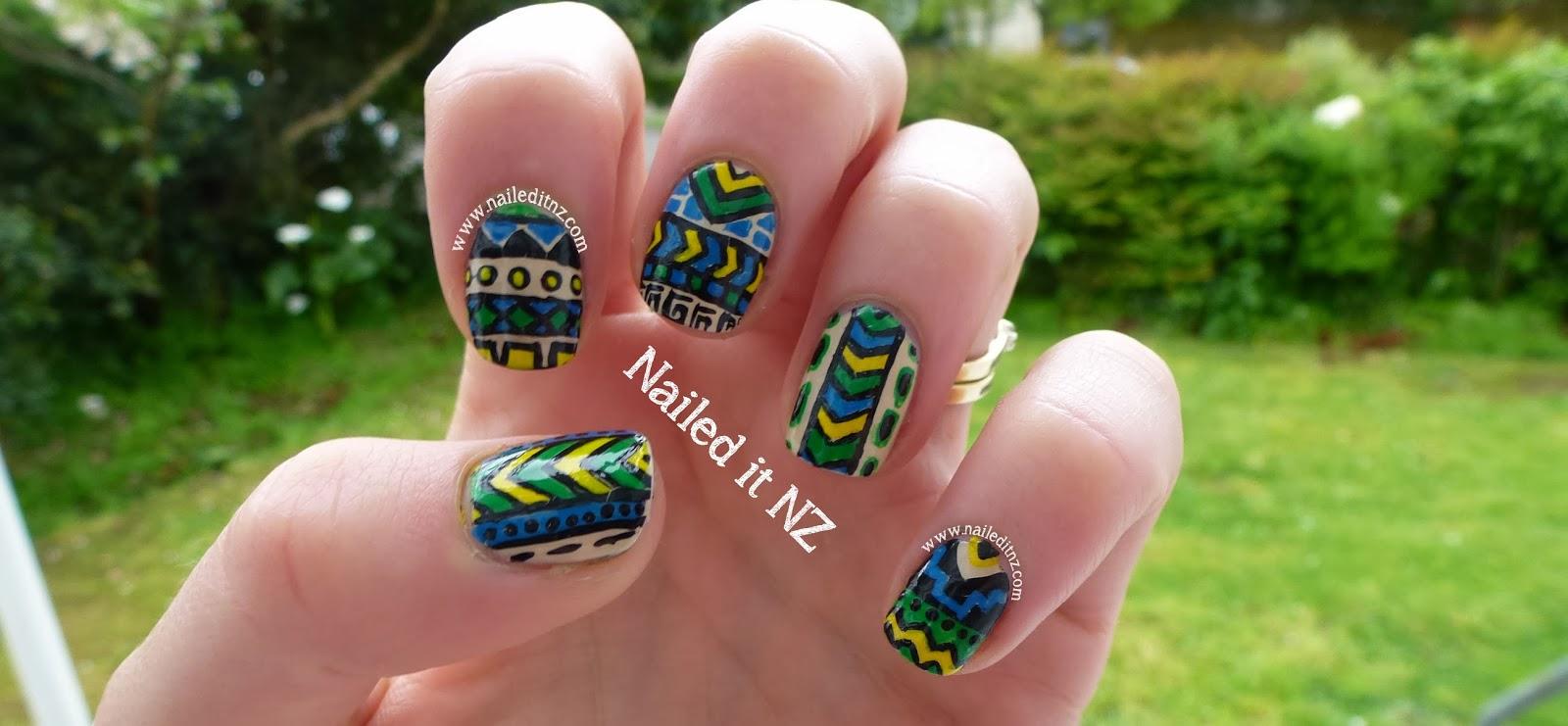 Tribal Nail Art In Blue Green Yellow