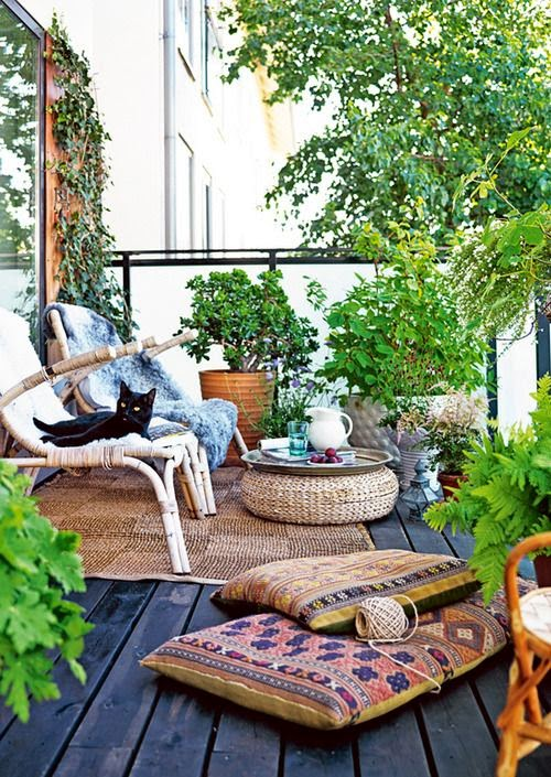 terraza muebles bambú