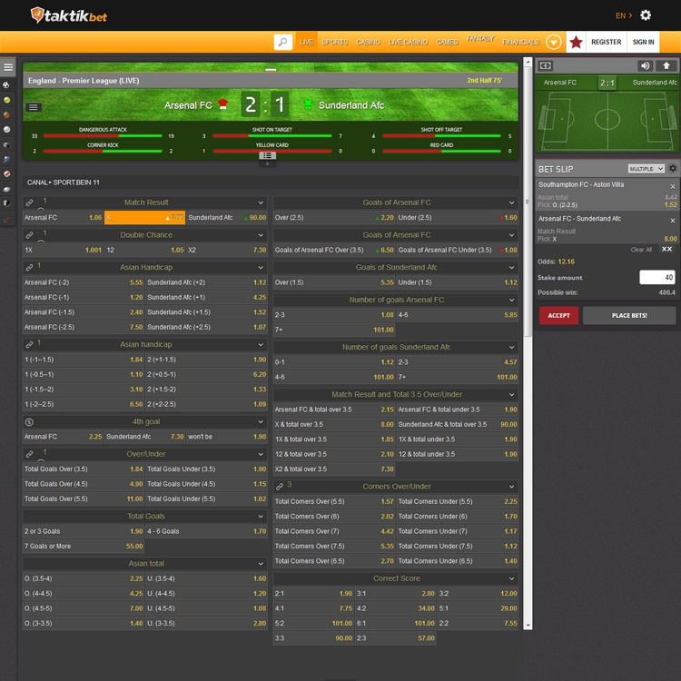 Taktikbet Live Betting Offers
