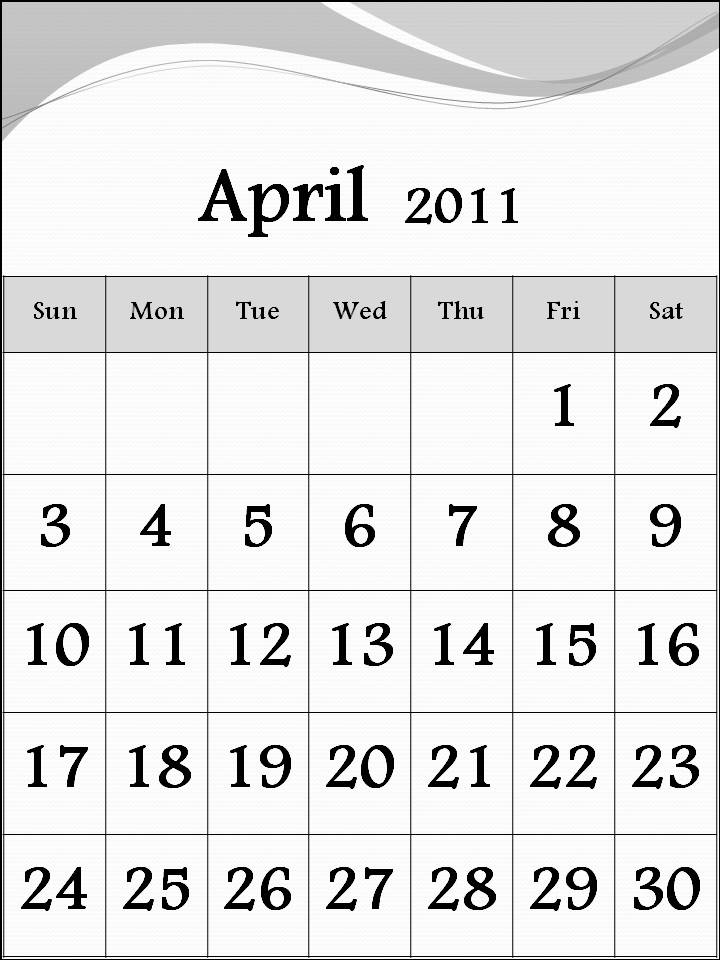 calendar april 2011 template. dresses april 2011 calendar