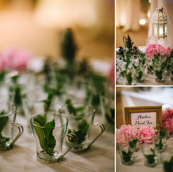 beautiful arabic mint tea station at the dessert table