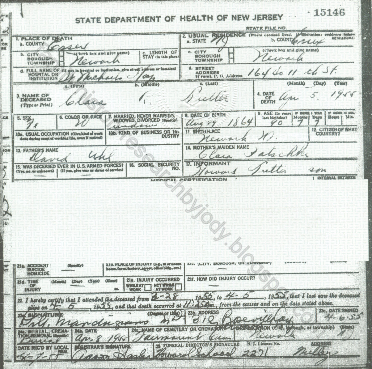 Family history research by jody new jersey death certificates death certificate for clara lutter nee uhl died 5 april 1955 in newark obtained through the department of health and senior services xflitez Choice Image