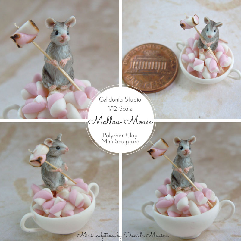 Miniature  Mouse - Polymer Clay Mini Sculpture by Daniela Messina